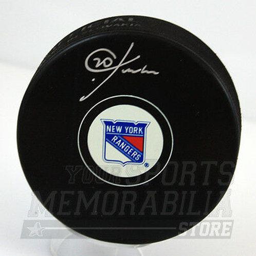 Chris Kreider New York Rangers Signed Rangers Logo Hockey Puck Kreider holo