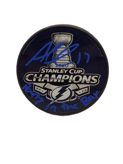 """Alex Killorn Tampa Bay Lightning signed SC Champs puck """"Party in the Bay"""" Blue"""