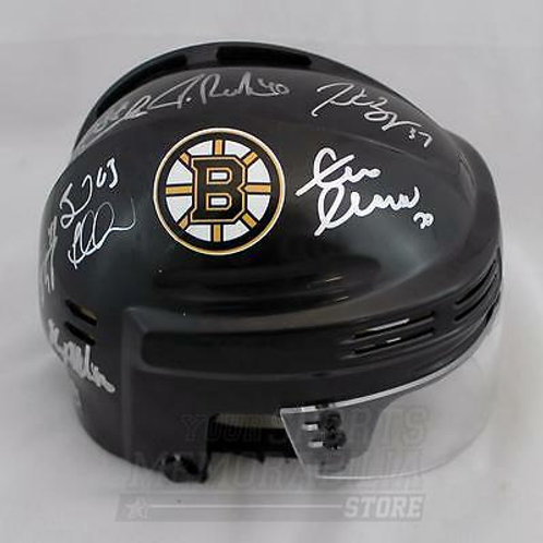 Boston Bruins 2016 Team Signed Autographed Mini Helmet Bergeron Marchand ++