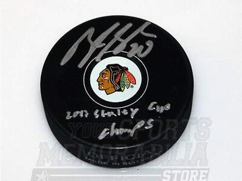 Brandon Saad Chicago Blackhawks signed inscribed Stanley cup champs hockey puck