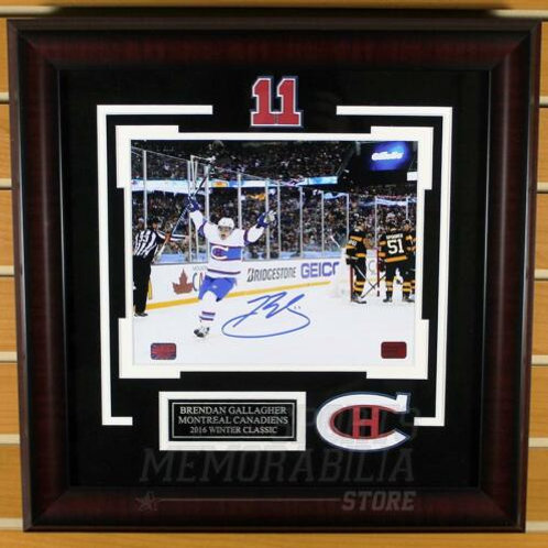 Brendan Gallagher Canadiens Signed Autographed Winter Classic Goal 8x10 Framed A