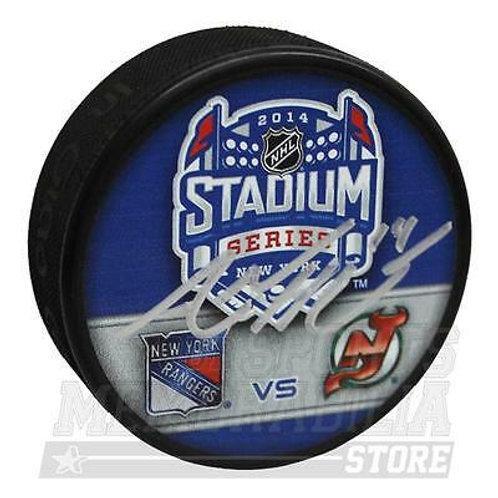 Adam Henrique New Jersey Devils Signed Autograph 2014 Stadium Series Duel Puck B