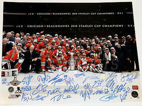 Chicago Blackhawks 2015 Stanley Cup Team Signed Autographed Celebration 16x20