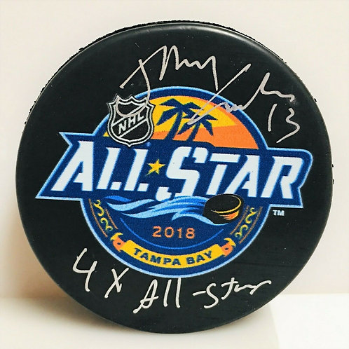 """Johnny Gaudreau Calgary Flames Signed Inscribed""""4x All-Star"""" 2018 All-Star Puck"""