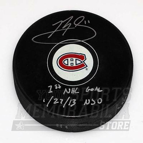 Brendan Gallagher Montreal Canadiens Signed Autographed 1st Goal Inscribed Puck