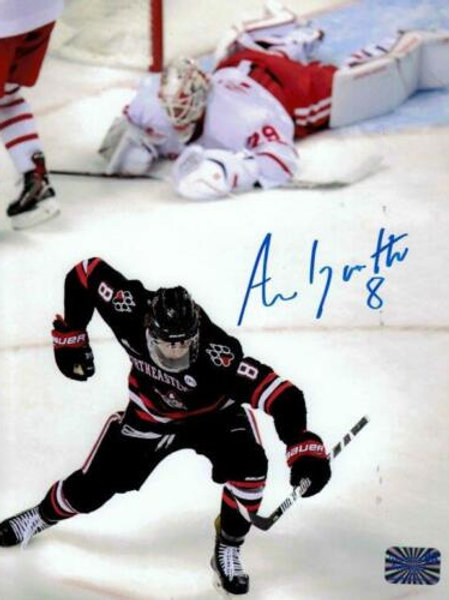 Adam Gaudette Vancouver Canucks signed Northeastern Goal 8x10 VB