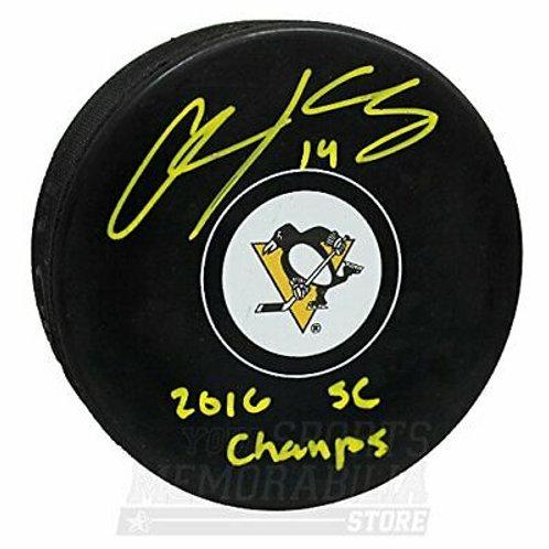 Chris Kunitz Pittsburgh Penguins Sign Autograph 2016 SC Champs Inscribed Puck Y