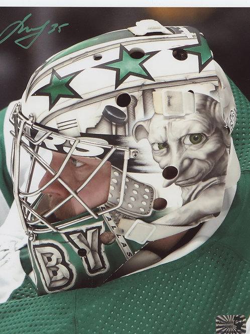 Anton Khudobin Dallas Stars signed 16x20 Dobby Mask side view