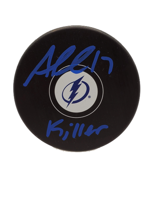 "Alex Killorn Tampa Bay Lightning signed Logo puck inscribed ""killer"" BLUE"