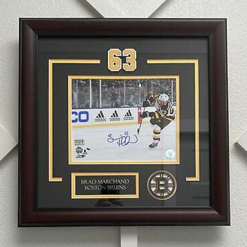 Brad Marchand Boston Bruins signed FRAMED 8x10 Wrist Shot