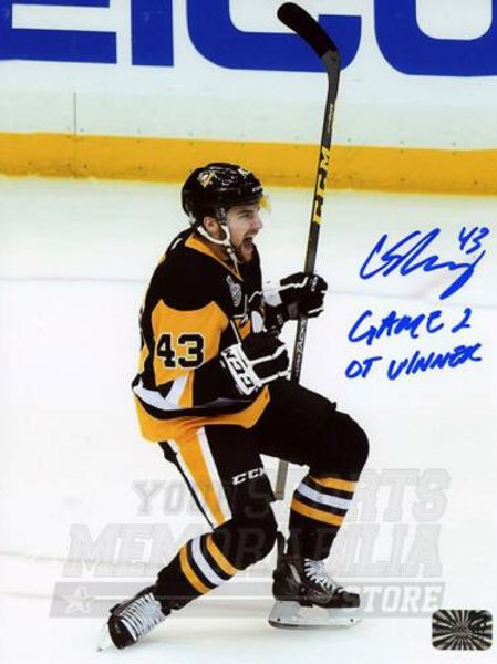 Conor Sheary Pittsburgh Penguins Signed Autographed Stanley Cup OT Winner 16x20