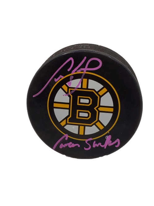 """Cam Neely Boston Bruins signed autographed puck inscribed """"Cancer Sucks"""""""