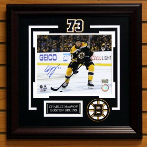 Charlie McAvoy Boston Bruins Signed autographed home action 8x10 H   FRAMED