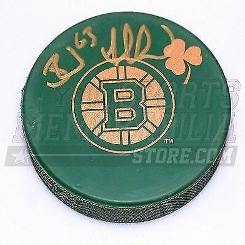 Brad Marchand Boston Bruins Signed Green St. Patricks Day Irish Bruins Logo Puck