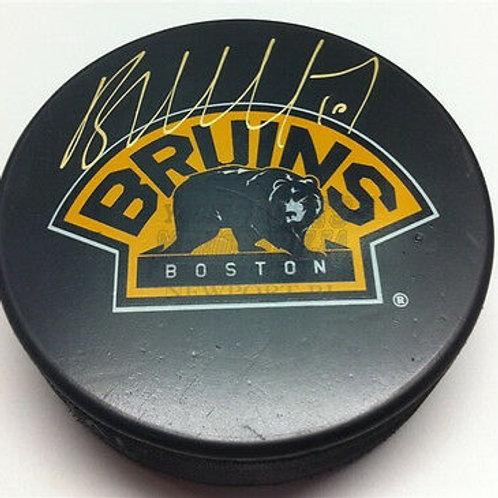 Brian McGrattan Boston Bruins signed 3rd logo puck Calgary Flames