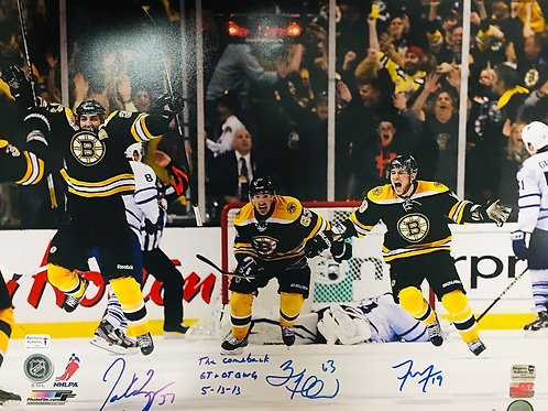Patrice Bergeron Marchand Seguin Boston Bruins Signed Comeback Inscribe 16x20 LE