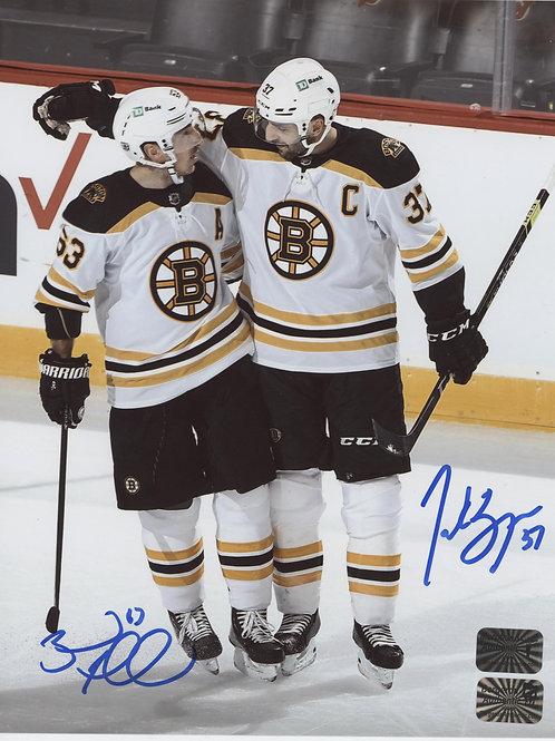 Brad Marchand Patrice Bergeron Boston Bruins DUAL signed 16x20 Away Jerseys