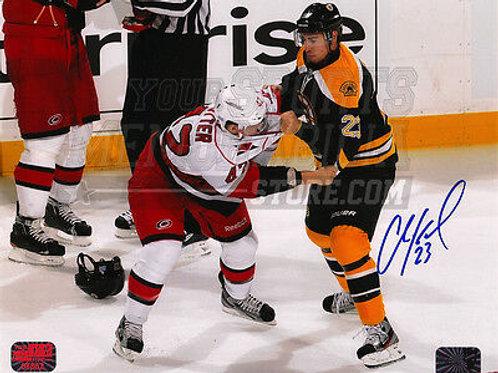 Chris Kelly Boston Bruins Signed Autograph Fight vs Hurricanes Brett Sutter 8x10