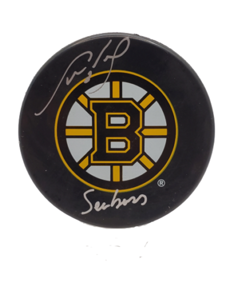 """Cam Neely Boston Bruins signed autographed Bruins logo puck inscribed """"Seabass"""""""