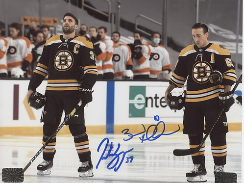Brad Marchand Patrice Bergeron Boston Bruins DUAL signed 8x10 Home Jersey Anthem