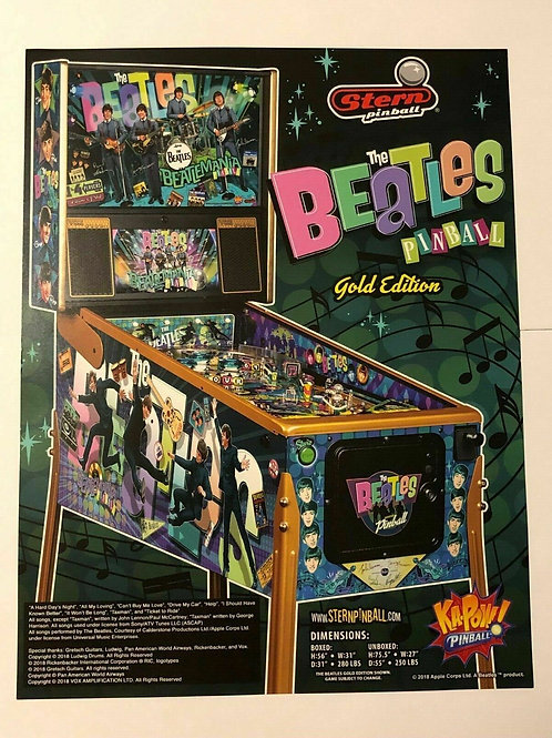 Beatles Gold Stern Pinball Game Flyer Brochure Ad