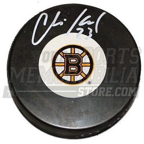 Chris Kelly Boston Bruins Signed Autographed Bruins Small B Logo Hockey Puck