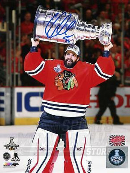 Corey Crawford Chicago Blackhawks Signed Autographed Raising Stanley Cup 8x10