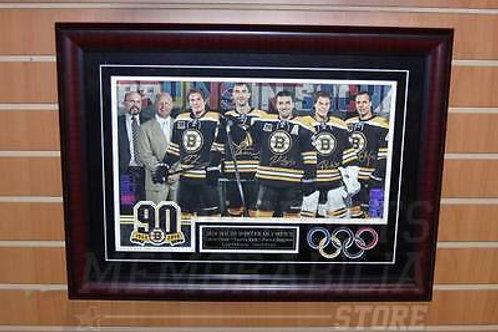 Boston Bruins Signed 2014 Olympics Rask Chara Krejci Eriksson Bergeron Framed