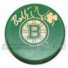 Bobby Robins Boston Providence Bruins Signed St. Patricks Day Bruins green Puck