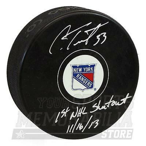 Cam Talbot New York Rangers Signed Autographed 1st NHL Shutout Inscribed Puck