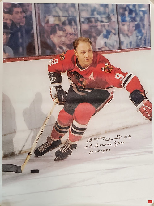 Bobby Hull Chicago Blackhawks signed 30x40 CANVAS Arm Out