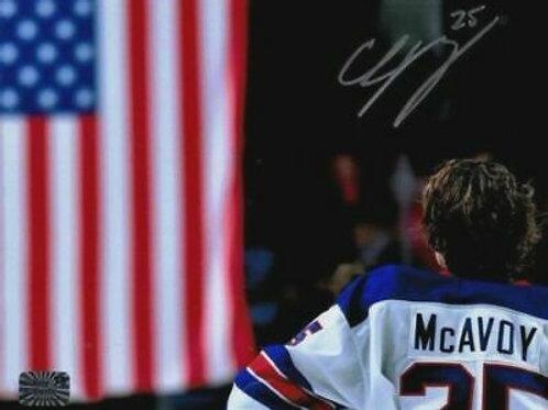 Charlie McAvoy Boston Bruins Signed Autographed US Flag WJC 16x20