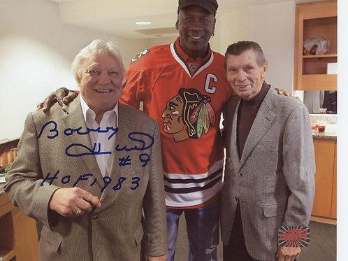 Bobby Hull Chicago Blackhawks signed 8x10 w/ Jordan & Mikita HOF1983 Inscription