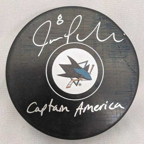 Joe Pavelski San Jose Sharks Signed Autographed puck inscribed CAPTAIN AMERICA