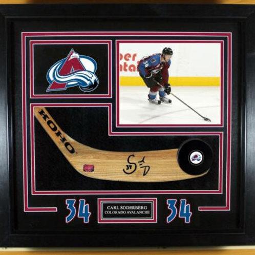 Carl Soderberg Colorado Avalanche Signed Autographed Stick Blade Frame Display