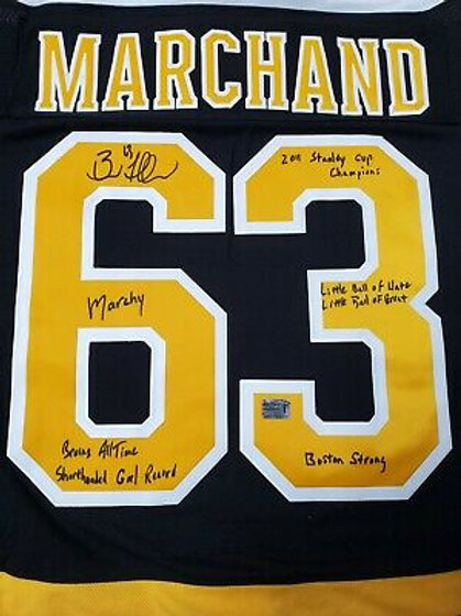 Brad Marchand Boston Bruins signed MULTI INSCRIBED Adidas authentic jersey