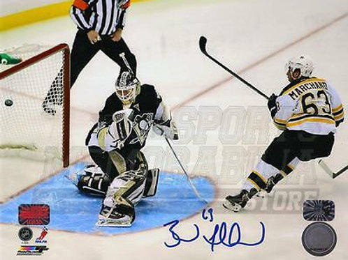 Brad Marchand Boston Bruins Signed 2013 Playoffs Goal vs Penguins 8x10