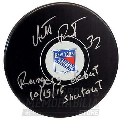 Antti Raanta New York Rangers Signed Autographed Debut Shutout Inscribed Puck