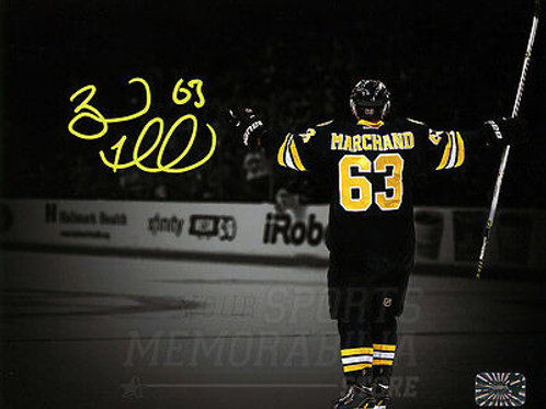 Brad Marchand Boston Bruins Signed Autographed Goal Celebration Spotlight 8x10 Y