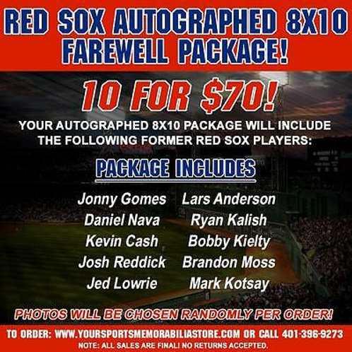 Boston Red Sox Signed Autographed 8x10 Farewell Package 10 for $70