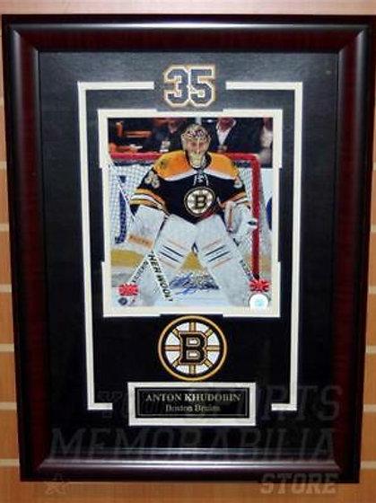 Anton Khudobin Boston Bruins Signed Autographed Home Action 8x10 Framed Carolina