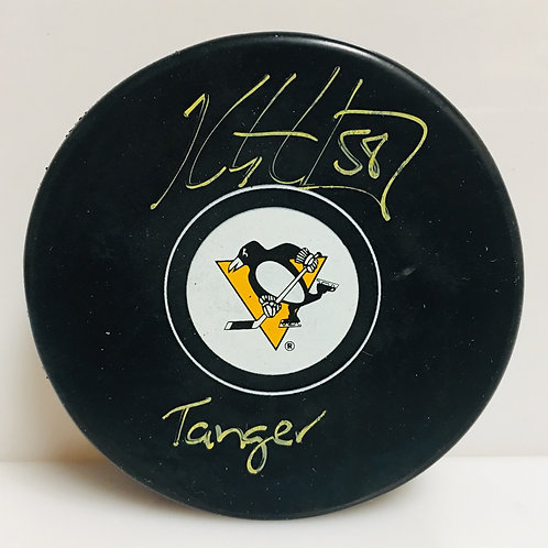 Kris Letang Pittsburgh Penguins Signed Inscribed Tanger Hockey Puck Yellow