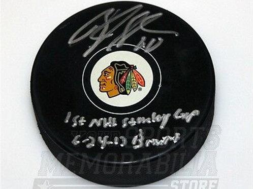 Brandon Saad Chicago Blackhawks signed inscribed 1st NHL Stanley cup puck
