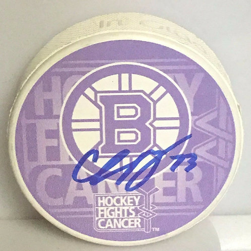 Charlie McAvoy Boston Bruins Signed Autographed Hockey Fights Cancer Puck