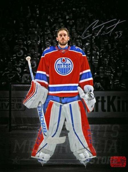Cam Talbot Edmonton Oilers Signed Autographed Pregame Rexall Spotlight 11x14