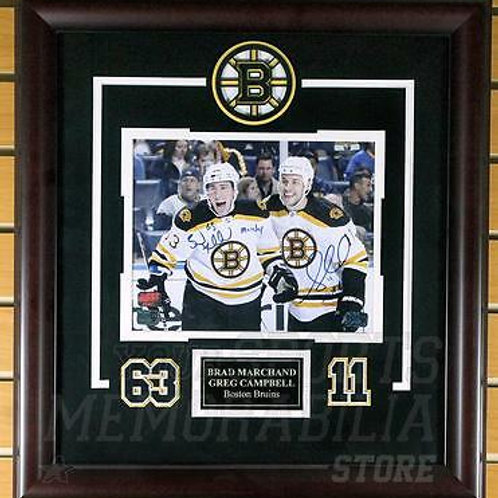 Brad Marchand Gregory Campbell Boston Bruins Signed Nicknames 8x10 Framed