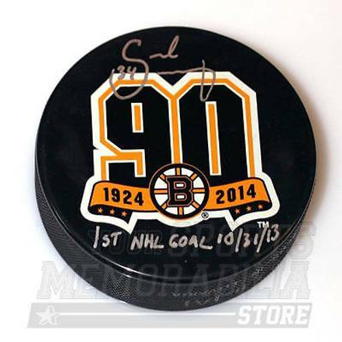 Carl Soderberg Boston Bruins Signed Autographe?d 1st NHL Goal 90th Hockey Puck