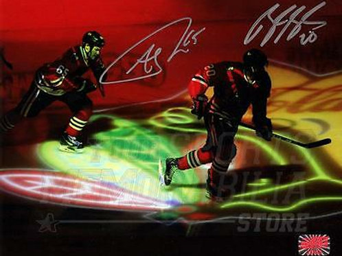 Brandon Saad Andrew Shaw Chicago Blackhawks Signed Autographed Silhouette 8x10