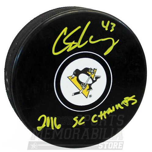 Conor Sheary Pittsburgh Penguins Signed Autographed 2016 SC Champs Inscribe Puck