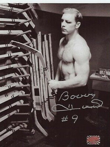 Bobby Hull Chicago Blackhawks signed 8x10 Locker room Stick Rack